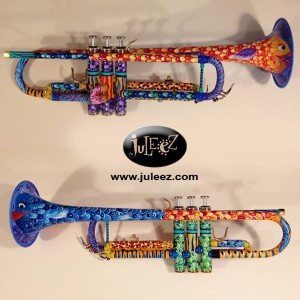 music room design color trumpets