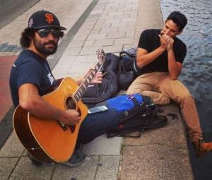 Amsterdam harmonica jams with Drew.