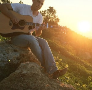 Quality time with my guitar outside.