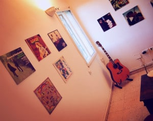 My new apartment. The vinyls on the walls make me start each day with a smile.
