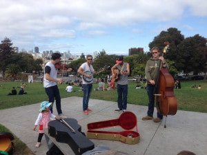 A couple of dudes jammin' in San Francisco, California. I took this one in August 2014.