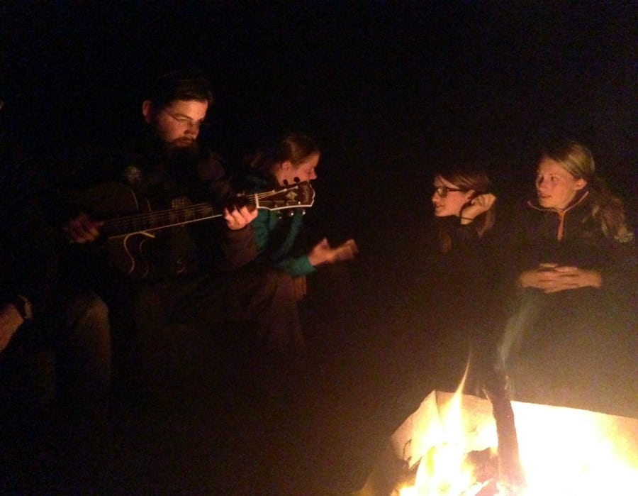 Campfire jams with people from Denmark and Germany