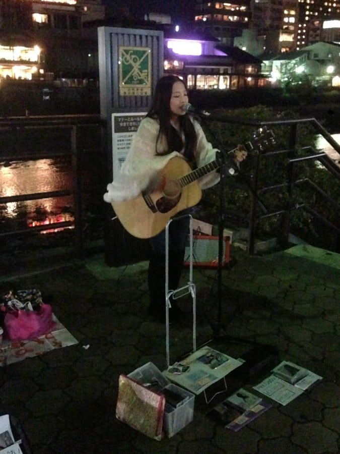 Street music in Kyoto - Japanese defiantly sounds very interesting with an acoustic guitar... Kyoto is known as Japan's most beautiful city and it is filled with beautiful temples, some of them were built more than 1000 years ago.