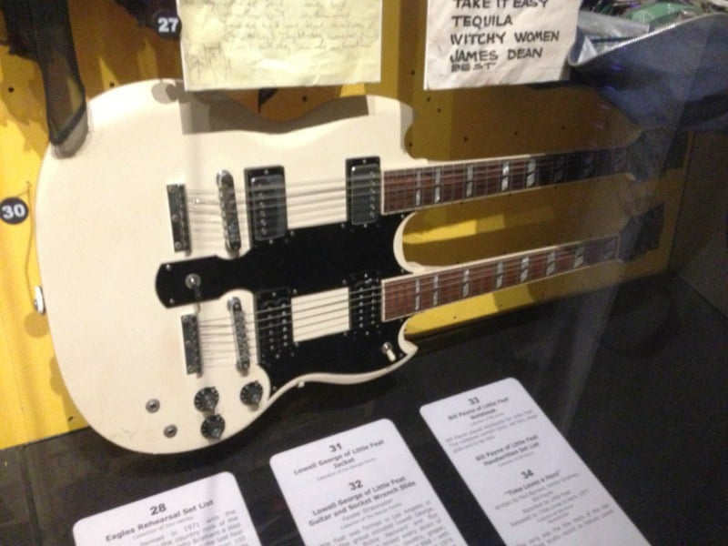 "The Gibson double neck that The Eagles played on the original recording of ""Hotel California"" in the Rock N' Roll Hall Of Fame museum in Clevland, Ohio. This guitar produced solos to the ears of hunreds of millions of people!"