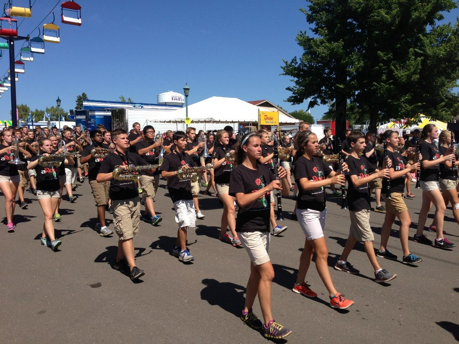 A marching band in the Minnesota state fair