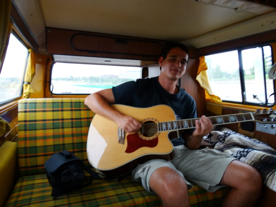 Jammin' in the van on the way up the Rocky Mountains