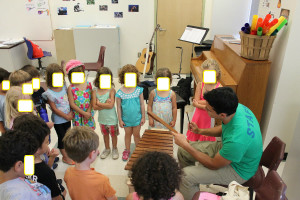 """This is how a """"small song session"""" in the music class room looks like."""