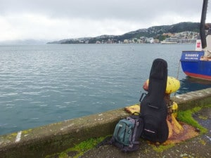Around the world in six months, a small bag, and a guitar. These were all my belongings for six months. This pic was taken in Wellington, New Zealand, Sep '14.